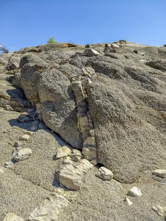 Rock formation at the Isabella Lake, Kern County, California, United States.
