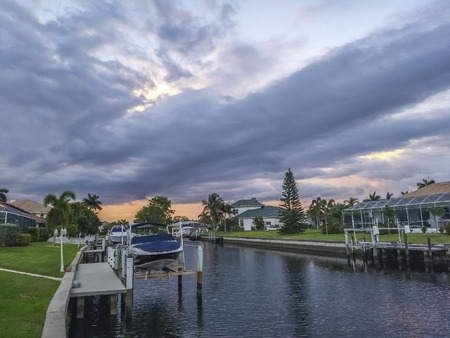 Cloudy afternoon over the water chanel, Punta Gorda, Florida, USA.