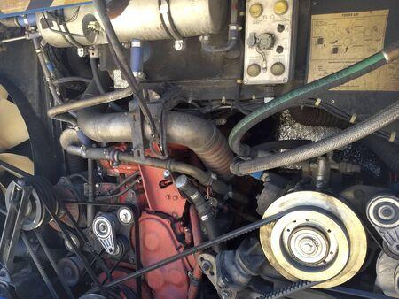 Elements of a big bus engine, motor mechanical parts. Reklamní fotografie