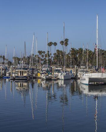 Blue Sky and water refelction at the Santa Barbara, Marina California, USA Redakční
