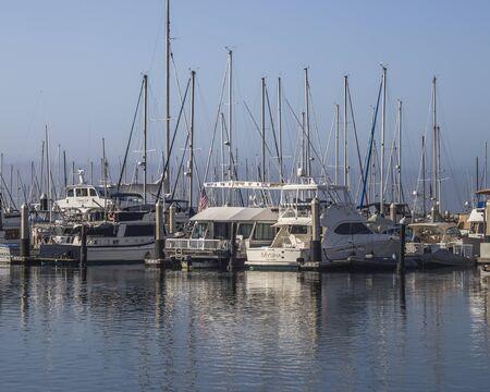 Motorboats docking at the Santa Barbara marina,California, United States