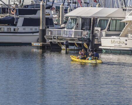 Ocean Kayaking at the Santa Barbara marina, California, water sport fun, Santa Barbara, CA. USA.