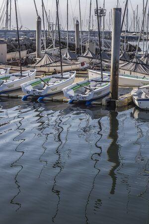 Small boats docking at the Santa Barbara marina, California, USA