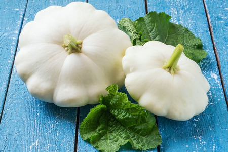 Two ripe organic pattypan squash on a blue wooden table