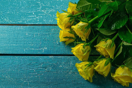 rosas amarillas: Rosas amarillas sobre un fondo de madera azul. El espacio vacío para el texto Foto de archivo