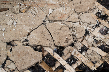 glasswool: Background of the old cracked plaster, lath and glass-wool Stock Photo