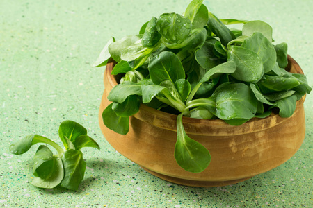 rapunzel: Fresh lambs lettuce (Valerianella locusta, corn salad) in a wooden bowl on a green background Stock Photo