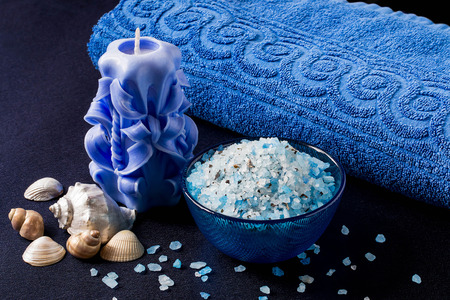 scented candle: Marine Spa composition: sea salt with alga, scented candle, towel blue