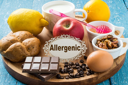 food allergies: Concept of food allergies. Set of products that cause allergies: citrus, red fruits and berries, eggs, milk, white bread, nuts, chocolate, coffee, honey