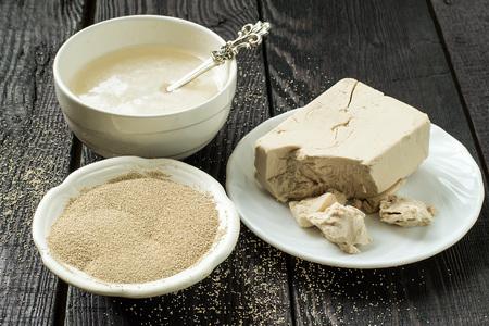 levadura: La levadura fresca en el papel, levadura seca instant�nea y el arranque de levadura en cuencos