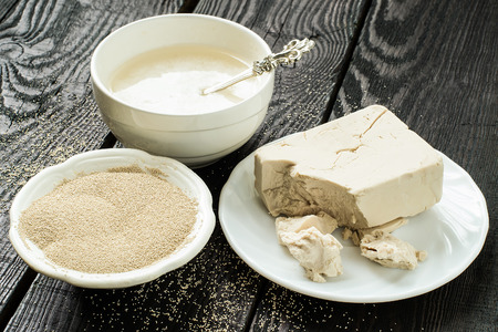 levadura: Fresh yeast on paper, instant dry yeast and yeast starter in bowls
