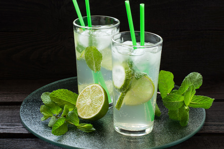 highball: Mojito cocktail with rum, lime, mint and soda in a highball glass on a glass tray