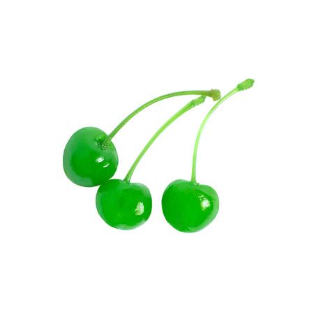 maraschino: Three green maraschino cherries isolated on white background