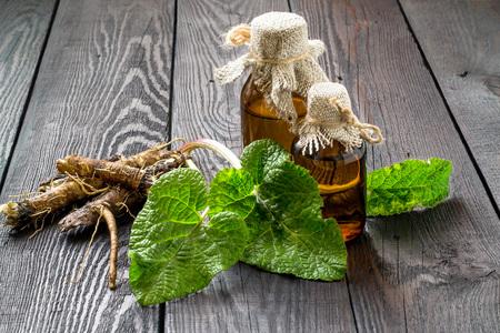 Medicinal planta - una de bardana. Las raíces y hojas de bardana, la bardana aceite en botellas sobre un fondo de madera. Se utiliza para el tratamiento y cuidado del cabello
