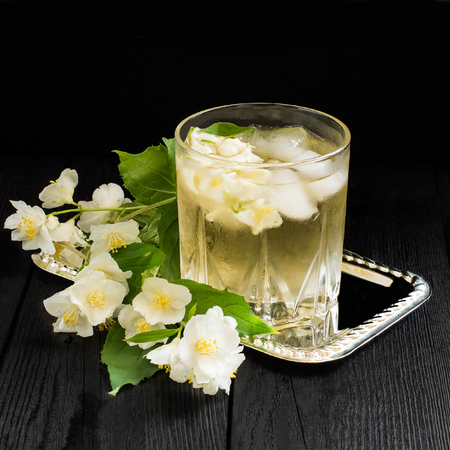 Refreshing Cold Green Tea With Jasmine And Ice In A Glass. Square.. Stock  Photo, Picture And Royalty Free Image. Image 58380824.