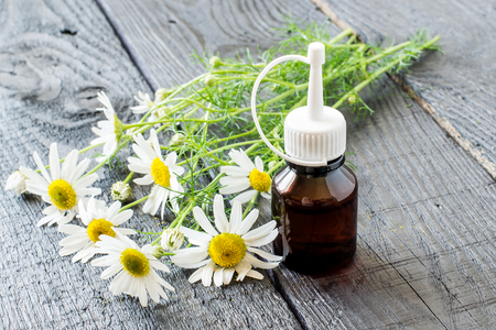 pharmaceutical bottle: Chamomile essential oil in a brown pharmaceutical bottle and chamomile flowers (Matricaria hamomilla) on a dark wooden table. Selective focus Stock Photo