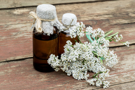 milfoil: Medicinal plant yarrow (achillea millefolium) and pharmaceutical bottle on old wooden table. Yarrow - a popular means of treatment in herbal medicine, has anti-inflammatory and antiseptic properties
