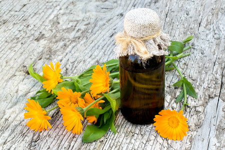 Medicinal plant calendula and pharmaceutical bottle on old wooden table. Actively used in herbal medicine, cosmetics, healthy nutrition Stock Photo