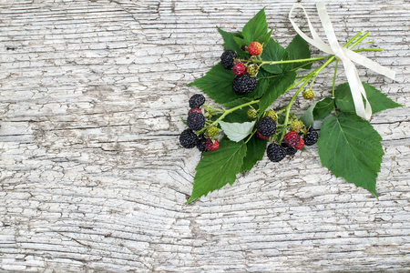 rubus: Bunch of black raspberries (Rubus occidentalis) and white ribbon on the old wooden background with space for text