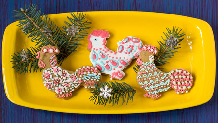 Homemade painted gingerbread cookies with icing in the shape of rooster and decorated with fir branches in yellow plate on blue background. Rooster - symbol of new year 2017 on eastern calendar