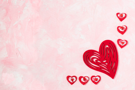 Festive Composition To Valentines Day Of Different Red Hearts