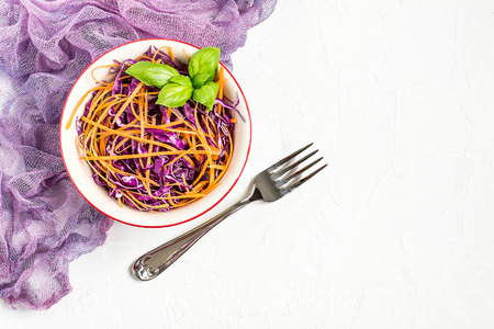 Fresh vitamin salad of red cabbage (scotch kale) with carrot and basil Lizenzfreie Bilder