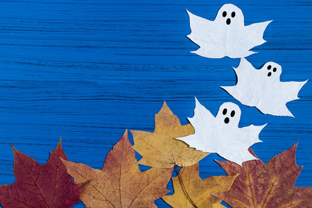Making ghosts from maple leaves to Halloween. Halloween decor of room. Childrens art project. DIY concept. Step-by-step photo instructions. Step 5. Final result
