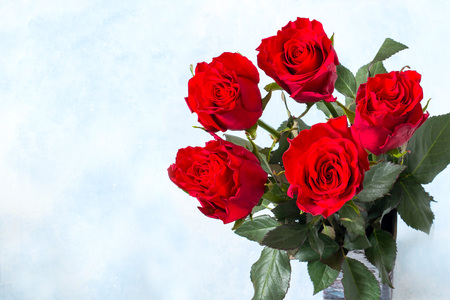 Gift for holiday: Valentines Day, Womens Day, Mothers Day. Bouquet of red roses on light blue background with copy space