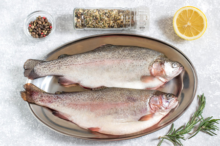 Two fresh trout on metal tray and ingredients for cooking (pepper, salt, lemon, seasoning and rosemary). Dietary and healthy food