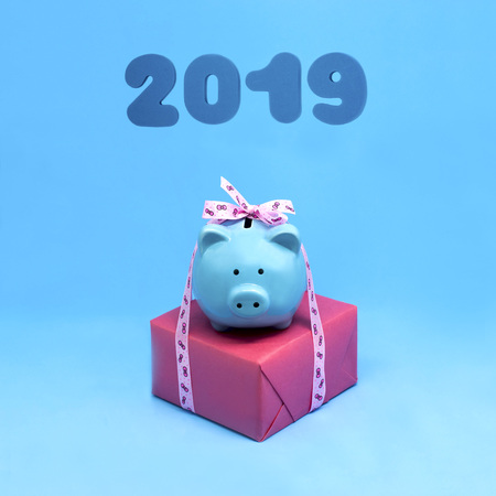 Piggy bank with gift for Christmas and New Year. Pig is symbol of 2019 New Year on Eastern calendar. Happy Chinese New Year. Minimal style