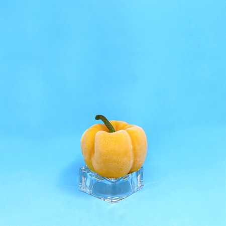 Frozen yellow pepper on ice cube on blue background. Creative concept: quickly frozen fruits and vegetables retain freshness and vitamins. Minimal style