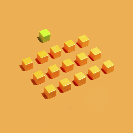 Rows of yellow cubes on yellow background and one green.