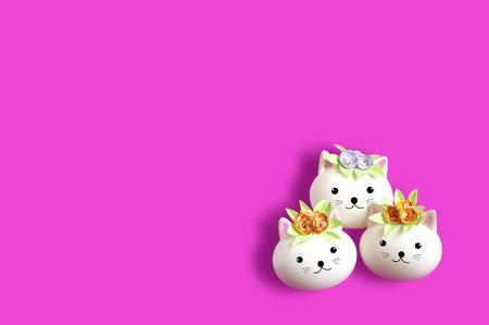 Three handmade cute cat made of egg. Creative Easter decor, kawaii style. Minimal easter concept