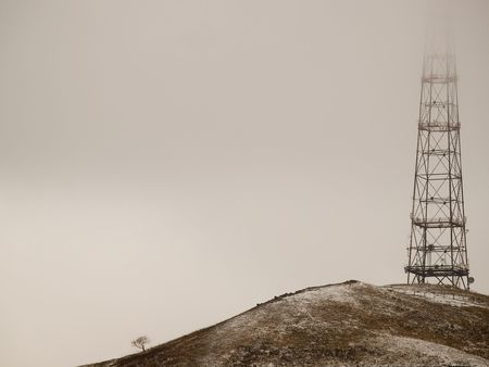 lone tree and tv tower photo