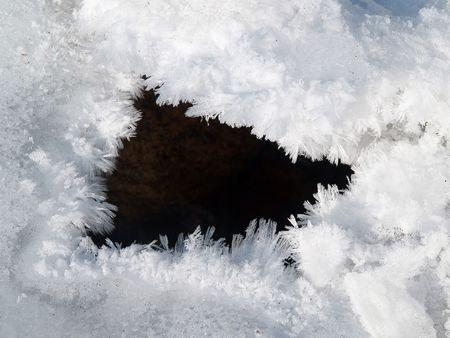 icescape: frozen stream ice hole