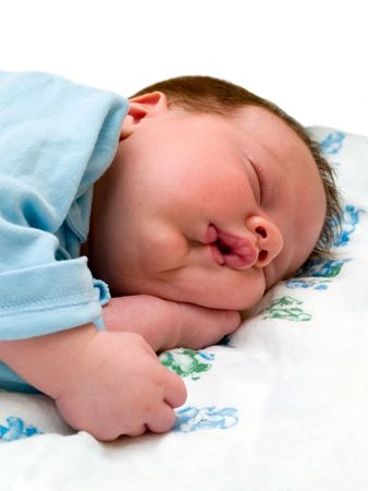 sleeping baby. isolated on white Stock Photo