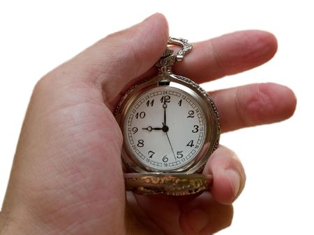 quick money: pocket watch in the arm. 9 cclock. time concept