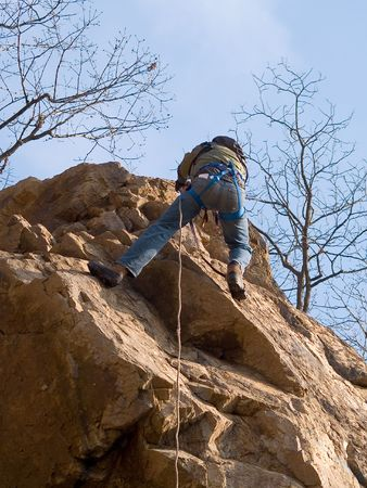 climber on the rope