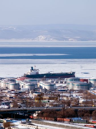 oiler: gasoline tanker at russian petroleum port Vladivostok