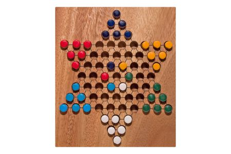chinese checkers wooden board isolated on white Stock Photo