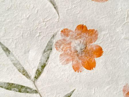 imprinted: vintage paper background with dry flowers imprinted Stock Photo