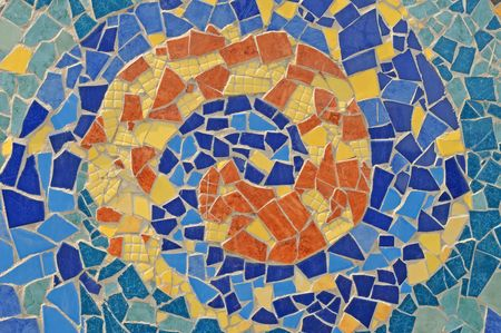 mosaic wall from ceramic broken tile