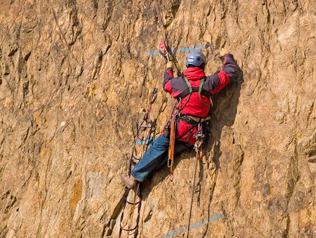 belay: mountaineering competition Stock Photo