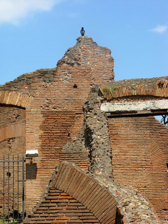 damaged brick walls in the ancient Roman city Pompeii   photo