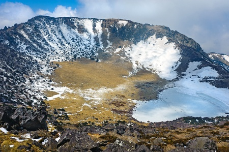 Hallasan mountain volcanic crater at Jeju island Korea Stock Photo