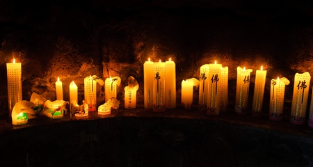 buddhist altar with candles at Gwaneumsa  Temple at Jeju Island Korea Stock Photo - 9375132
