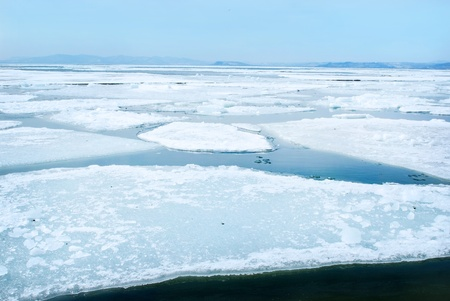 breaking spring ice floe  Stock Photo