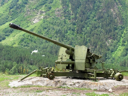 anti-avalanche cannon at Caucasus Mountains  Stock Photo