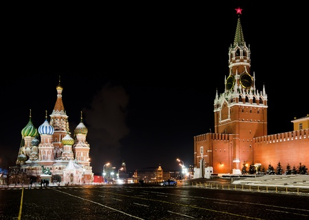 at town square: Night view of Moscow Red Square, St Basil Temple and Spasskaya Tower of Kremlin