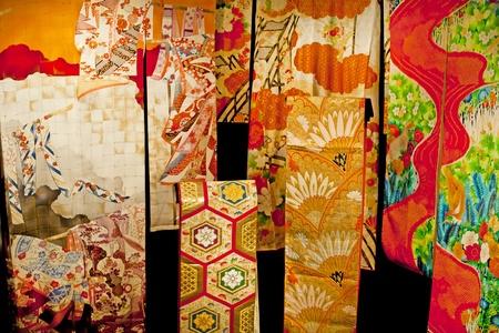 geisha kimono: Traditional Japanese clothing Kimono  fabric detail Stock Photo